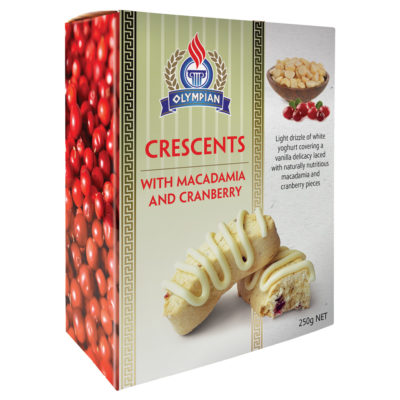 Crescents macadamia and cranberry biscuit