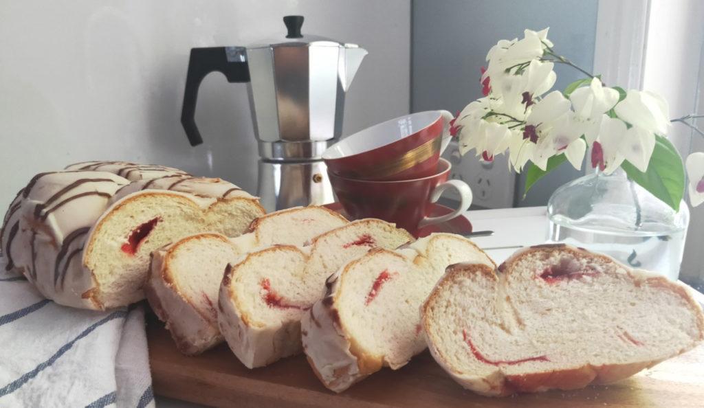 Greek White Chocolate Tsoureki Sweet Bread