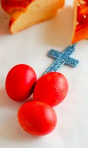 red greek easter eggs with cross