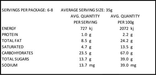 Crescents macadamia & cranberry nutrition