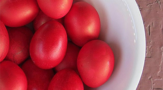 Red Greek Easter eggs