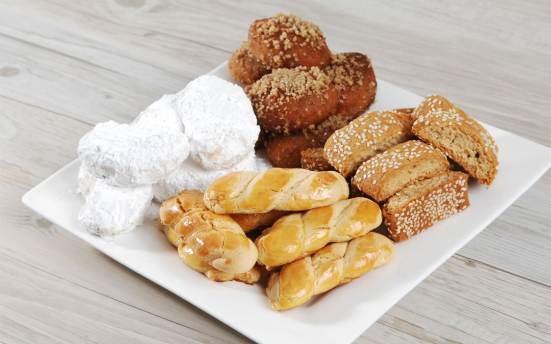 Koulourakia - Plate of Greek Biscuits and Cookies
